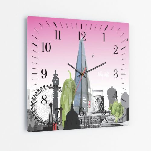 London Skyline With A Twist Pink - Square Glass Clock